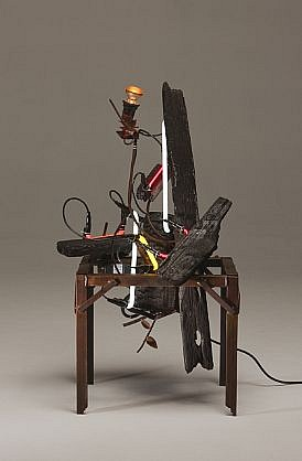 "DAVID KIMBALL ANDERSON, ""CLEAN FIRE,"" FIRE steel, charred wood, neon and incandescent light"
