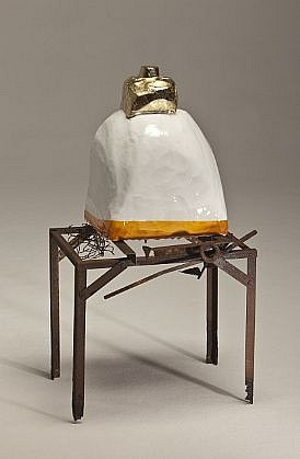 "DAVID KIMBALL ANDERSON, ""CLEAN FIRE"" STUPA steel, fiberglass, paint, metal composition leaf"