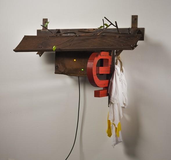 DAVID KIMBALL ANDERSON, MODERN NAMCHE steel, wood, fabric and neon
