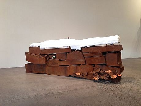 DAVID KIMBALL ANDERSON, LITTLE VILLAGE, WALL AND SNOW steel, painted steel and fiberglass