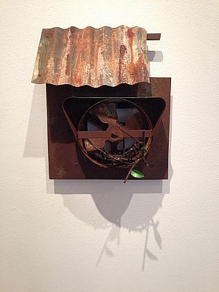 DAVID KIMBALL ANDERSON, LITTLE VILLAGE, NEST IN FAN painted steel and found objects
