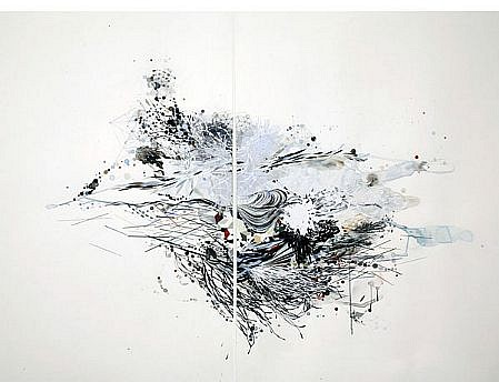 "REED DANZIGER, AN INDETERMINATE ORDER ""FLOATING"" watercolor, gouache, graphite and silkscreen on paper"