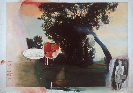 JACK BALAS, Aunt Mary oil on paper w/ inlaid digital text