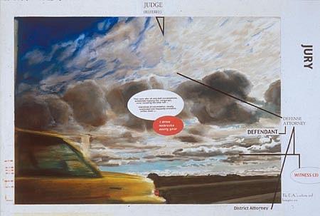 JACK BALAS, Jury oil on paper w/ inlaid digital text