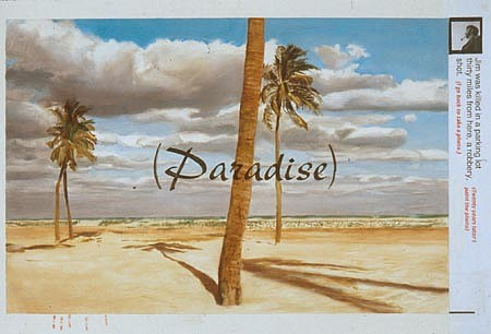 JACK BALAS, Paradise oil on paper w/ inlaid digital text