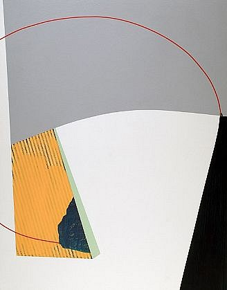 TYLER BEARD, MANGOLD-LIKE DRAFTSMANSHIP AMONGST SOME CURIOUS ARCHITECTURE acrylic and collage on panel
