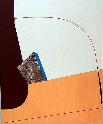 TYLER BEARD, THE SOUND WAS GROWING LOUDER AND THE CLOUDS WERE GETTING DARKER acrylic paint and collage on panel