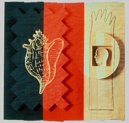 JOHN BUCK, CAMEO cottonwood/ acrylic woodcut