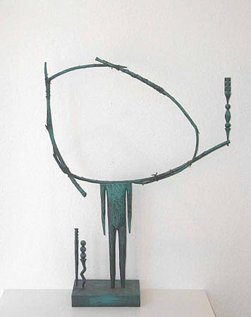 JOHN BUCK, STUDY FOR THE FALL OF 93 #1 acrylic/ wood sculpture