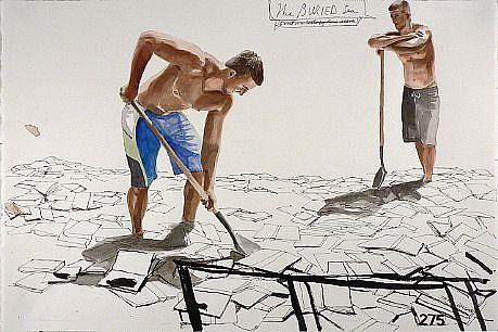 JACK BALAS, THE BURIED SEA watercolor