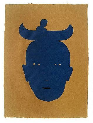 TOM NUSSBAUM, CANOE HEAD cut vegetable-dyed Yatsuo paper