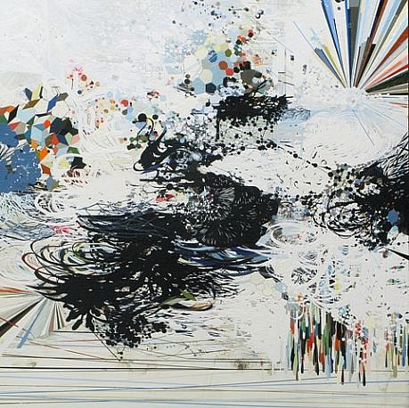 REED DANZIGER, DOWNBURST oil, pencil, pigment, shellac on paper on panel