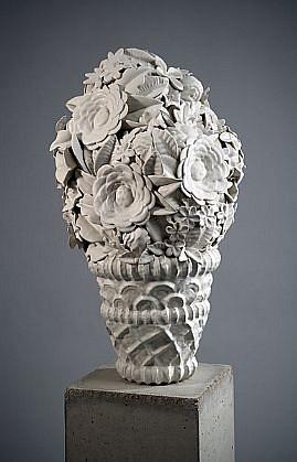 KIM DICKEY, PERUQUE glazed porcelain and concrete