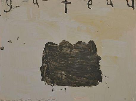 GARY KOMARIN, UNTITLED (GATEAU ON WHITE) mixed media on paper