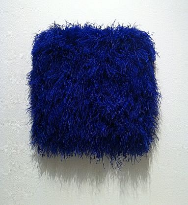 MARY EHRIN, LUXE EPOQUE dyed ostrich feathers, acrylic on panel