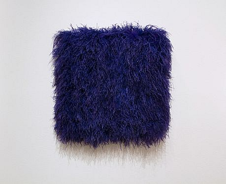 MARY EHRIN, BLUE LAGOON dyed ostrich feathers, acrylic on panel