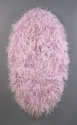 MARY EHRIN, LILAC PAINTING dyed ostrich feathers, acrylic on panel