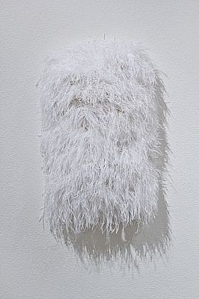 MARY EHRIN, BRIGHT STAR ostrich feathers and acrylic on panel