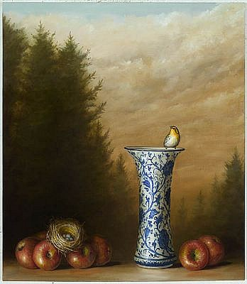 DAVID KROLL, APPLES AND VASE oil on linen