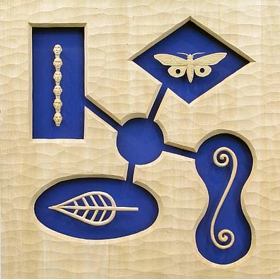 JOHN BUCK, TRIBUTARIES (BLUE) wood w/ acrylic