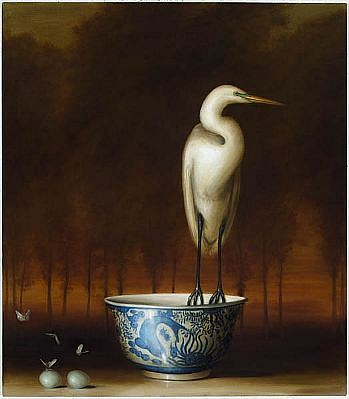 DAVID KROLL, EGRET AND BOWL oil on linen