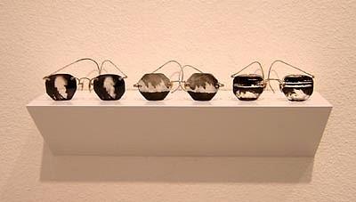 GARY EMRICH, Trio: Oil fire, Prarie fire, fire field photo emulsion transfer / eyeglasses