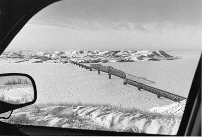 CHUCK FORSMAN, Across the wide Missouri, Fort Bertold Indian Reservation, North Dakota black & white photograph