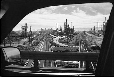 CHUCK FORSMAN, City of Commerce, with the Denver skyline, Colorado black & white photograph