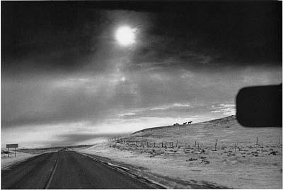 CHUCK FORSMAN, Heading west, U.S. 2, eastern Montana black & white photograph