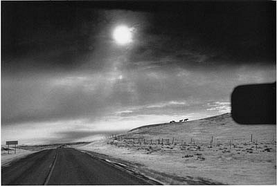 CHUCK FORSMAN, Heading west, U.S. 2, eastern Montana black & white photograph