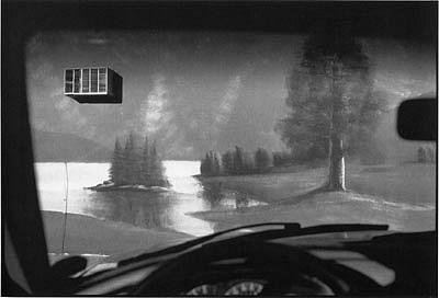 CHUCK FORSMAN, Mountain air, grocery mural, Arco, Idaho black & white photograph