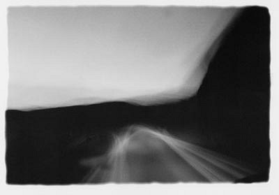 CHUCK FORSMAN, Moving still, U.S. 14, Wyoming black & white photograph