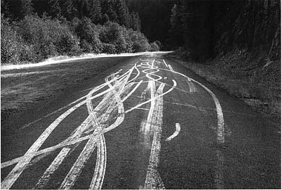 CHUCK FORSMAN, Skid master, Cascade Range, Oregon black & white photograph