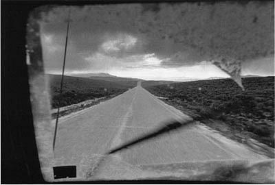 CHUCK FORSMAN, Spring hail, State Highway 24, southern Utah black & white photograph