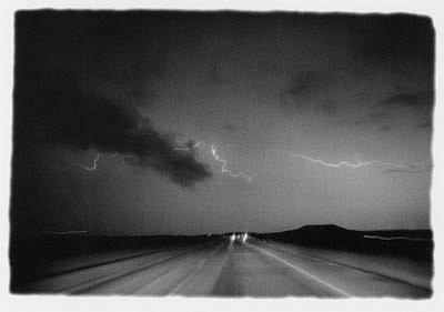 CHUCK FORSMAN, Storm, I-25, central Wyoming black & white photograph