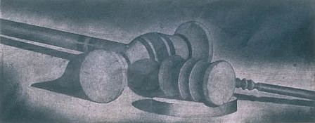 RON FUNDINGSLAND, MALLET AND GAVEL color intaglio