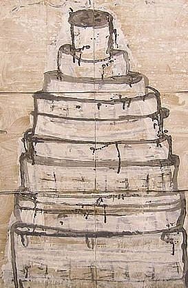 GARY KOMARIN, GATEAU, BLACK ON WHITE acrylic on paper