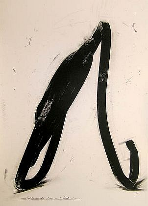 BERNAR VENET, INDETERMINATE LINE 33/45 by Art of This Century lithograph, framed