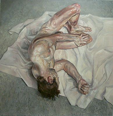 STEFAN KLEINSCHUSTER, Figure on Sheet oil on canvas