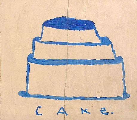 GARY KOMARIN, UNTITLED (Blue Cake) acrylic on paper