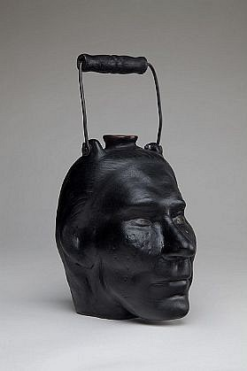 JEFF STARR, FACE JUG ceramic, metal and wood