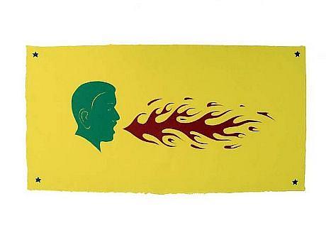 TOM NUSSBAUM, FIRE MAN hand-cut Yatsuo paper iwth vegetable dye