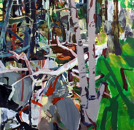 ALLISON GILDERSLEEVE, TWO TREES HITCHED oil and alkyd on canvas