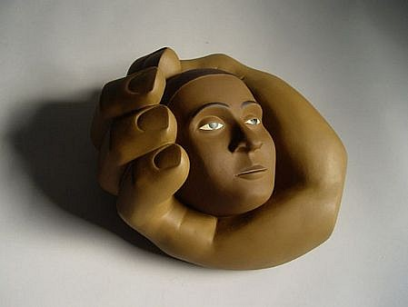 TOM NUSSBAUM, HEAD IN HAND  1/6 acrylic on resin