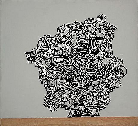JEFF STARR, HIEROGLYPH HEAD archival ink and acrylic on linen