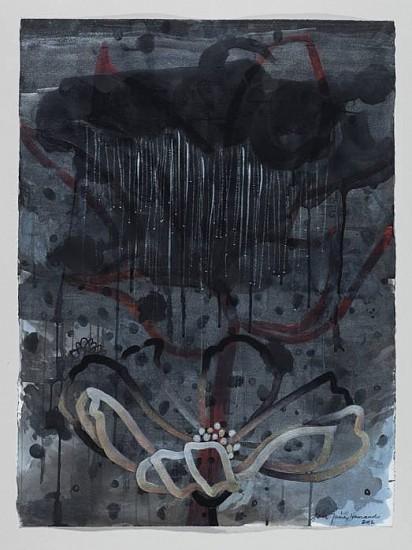 ANA MARIA HERNANDO, BAÑO DE ESTRELLAS Y LUNA (BATH OF THE STARS AND MOON) acrylic and acrylic ink on paper