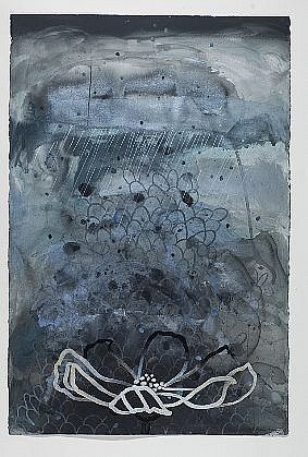 ANA MARIA HERNANDO, LLUVIA BLANCA PARA UN CORAZÓN BLANCO (WHITE RAIN FOR A WHITE HEART) acrylic and acrylic ink on paper