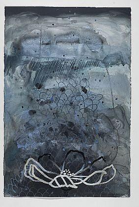 ANA MARIA HERNANDO, LLUVIA BLANCA PARA UN CORAZÓN BLANCO (WHITE RAIN FOR A WHITE HEART) acrylic and acrylic ink on paper
