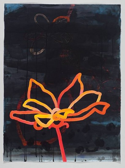 ANA MARIA HERNANDO, PINK MOON REFLECTED ON A WHITE FLOWER acrylic and acrylic ink on paper