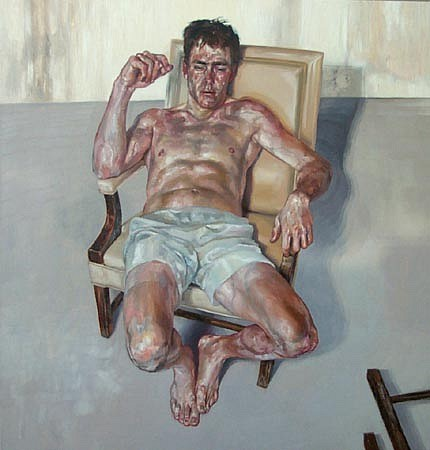 STEFAN KLEINSCHUSTER, Man With Overturned Chair oil on canvas